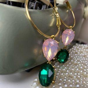 Jewelry - Gold hoop gemstone earrings